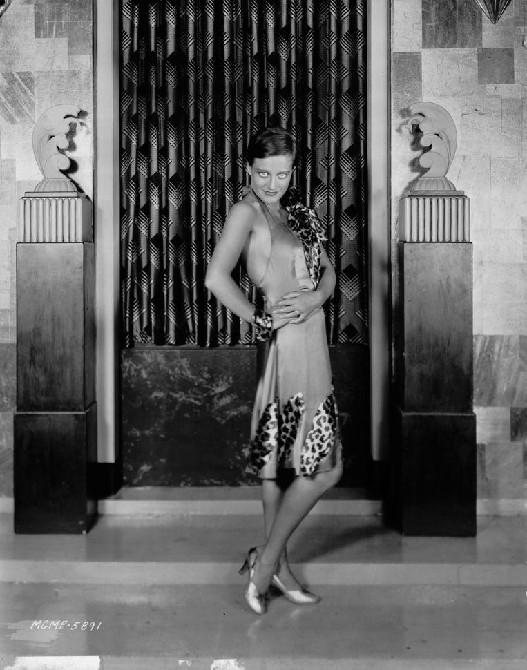 Filmster Joan Crawford in een jurk met luipaardprint, 1928. Beeld Getty