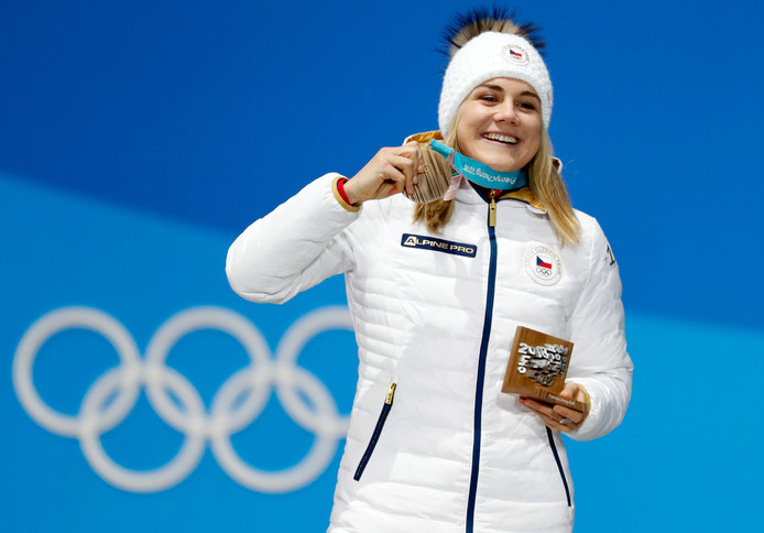 Karolina Erbanova won brons op de 500 meter tijdens de Olympische Spelen in Pyeongchang (2018).