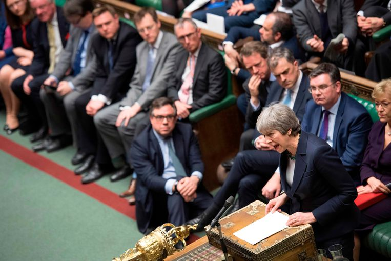 De Britse premier Theresa May, afgelopen woensdag in het Britse Lagerhuis. Beeld AFP