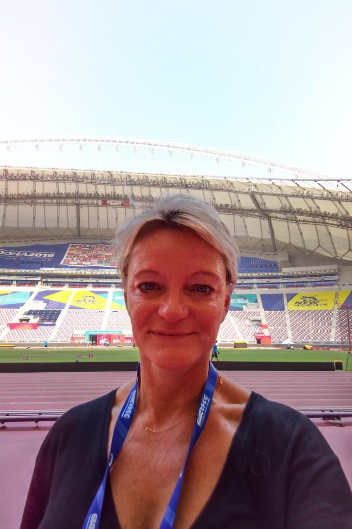 Ellen van Langen, in het atletiekstadion van Doha.