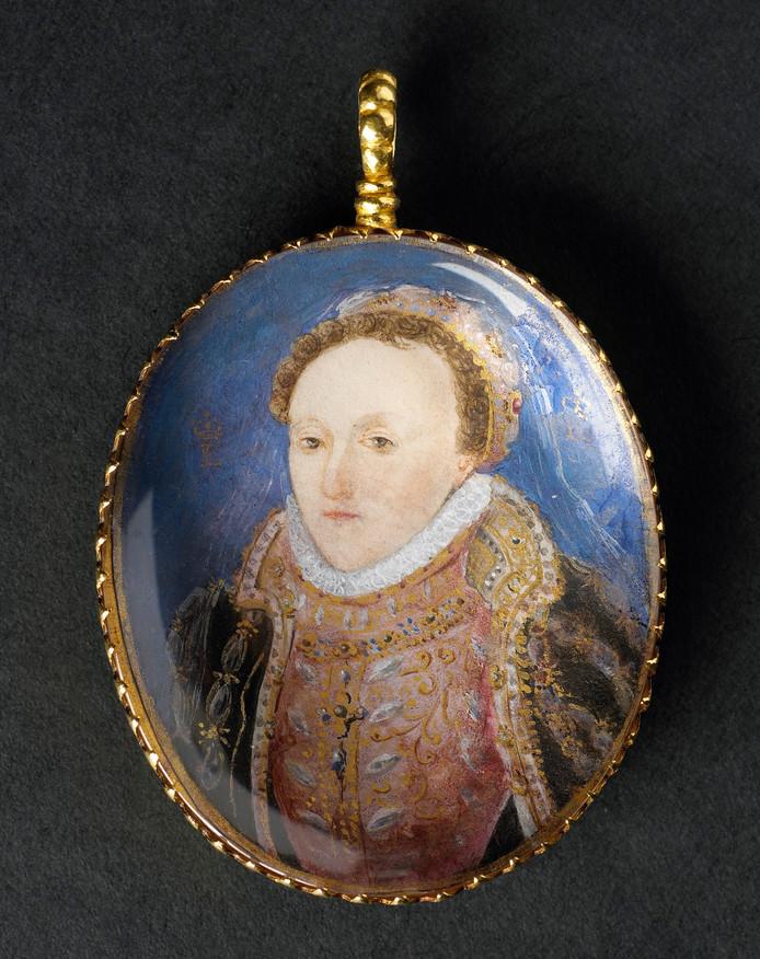Medaillon met portret van koningin Elizabeth I van Engeland. Rond 1585 door haar geschonken aan Adriaan Manmaker, thesaurier-generaal van Zeeland. Aankoop 2003. Zeeuws Museum, G03-003