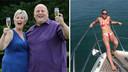 Links: Adrian en zijn vrouw Gillian toen ze EuroMillions wonnen. Rechts: Sam Burbridge