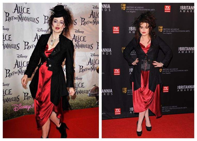 Helena Bonham Carter in 2010 (links) en 2011 (rechts).