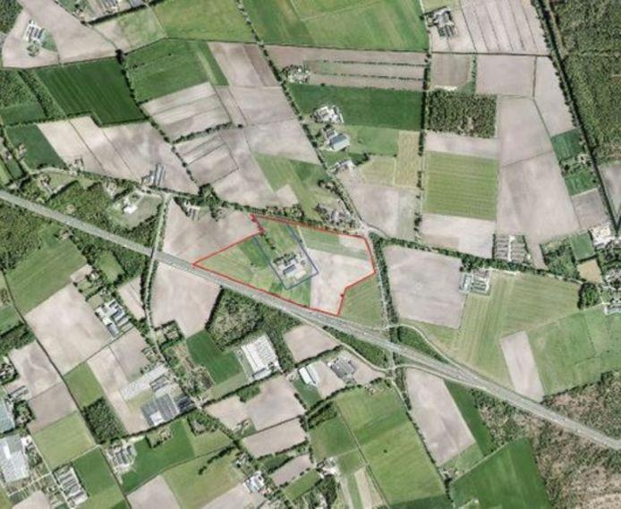 De locatie waar een zonnepark zou moeten verrijzen.
