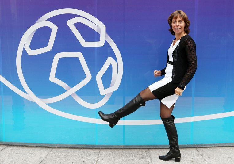 Dominique Leroy  bij de lancering van een reclamecampagne voor Proximus in september 2014 Beeld Reuters