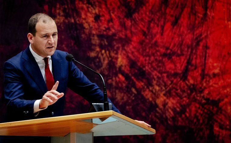 Lodewijk Asscher tijdens de tweede dag van de Algemene Politieke Beschouwingen. Beeld ANP