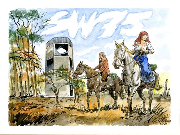 Deze knappe tekening werd gemaakt door Hec Leemans met op de achtergrond de nieuwe uitkijktoren op de Kalmthoutse Heide.