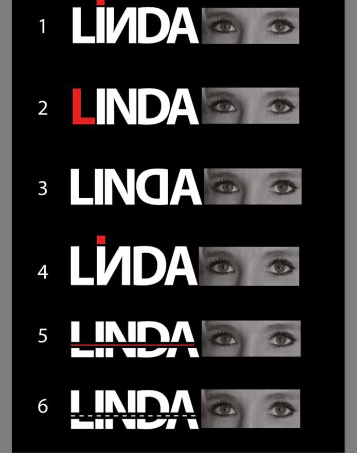 Zes varianten voor een ontwerp van een logo voor de rijschool van Linda Wilting uit Nijmegen.