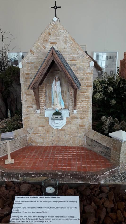 Het model dat Frans Mathijssen maakte van de Onze Lieve Vrouwe van Fatima-kapel aan de Kaarschotsestraat.