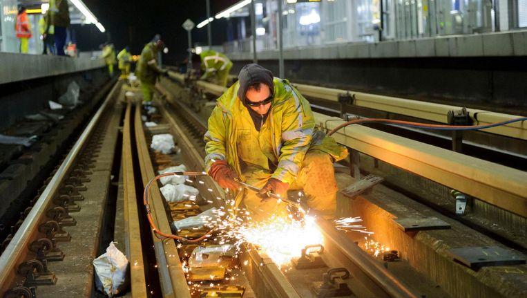 Werk aan de metrolijn Beeld Rick Keus
