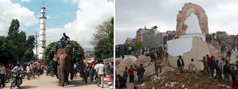 De Dhararatoren, die in 1832 werd gebouwd, voor en na de aardbeving Beeld AFP