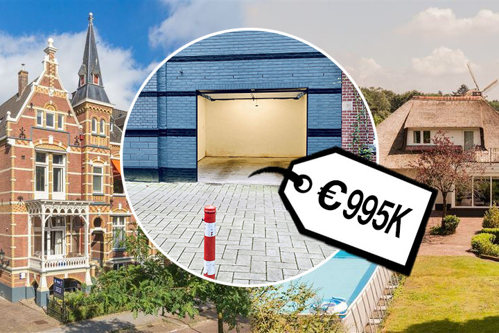 Vraagprijs 995.000 euro voor een garagebox in Amsterdam. Voor minder schaf je een landhuis of villa aan in Oost-Nederland.