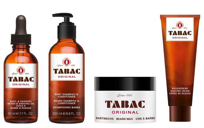 Le kit parfait pour les papas barbus signé Tabac. L'assortiment de rasage de Tabac Original est composé de quatre produits: une cire pour la barbe (7.75 €), un shampooing & après-shampooing pour la barbe (7.75 €), une huile pour la barbe & le rasage (9.50 €) ainsi qu'une crème de rasage (8.25 €).