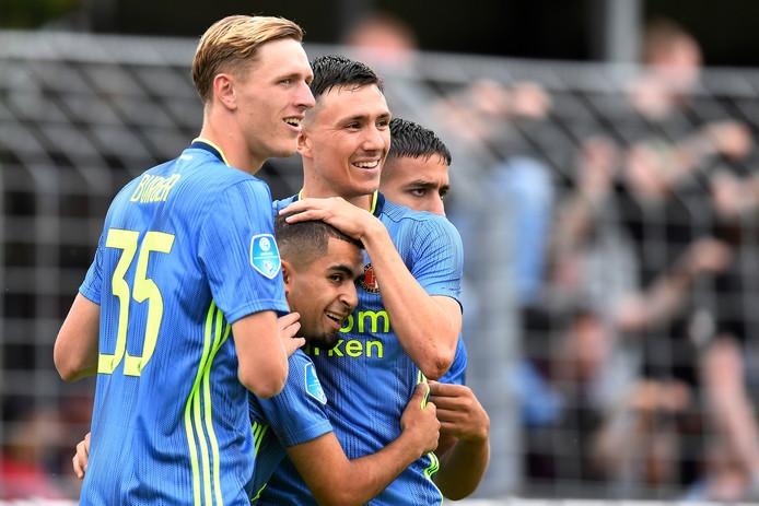 Wouter Burger, Marouan Azarkan en Steven Berghuis, die nog altijd op de belangstelling van PSV kan rekenen.