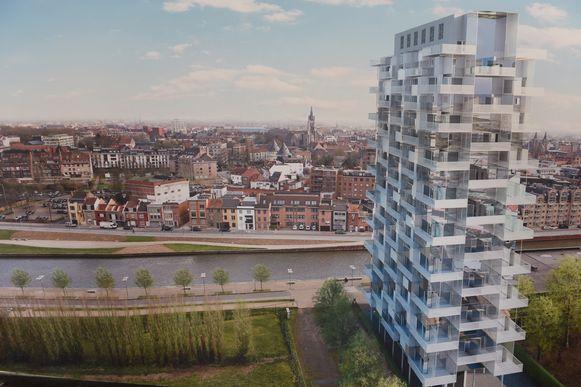 Hoogbouw - zoals deze simulatie van de K-Tower - is de toekomst, nu Kortrijk beloofd heeft om 94,5 hectare aan woonuitbreidingsgebied niet aan te snijden.