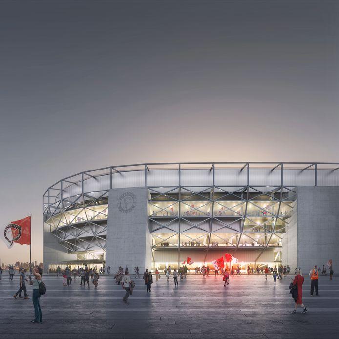 Gloednieuwe impressie van het exterieur van het nieuwe Feyenoordstadion.
