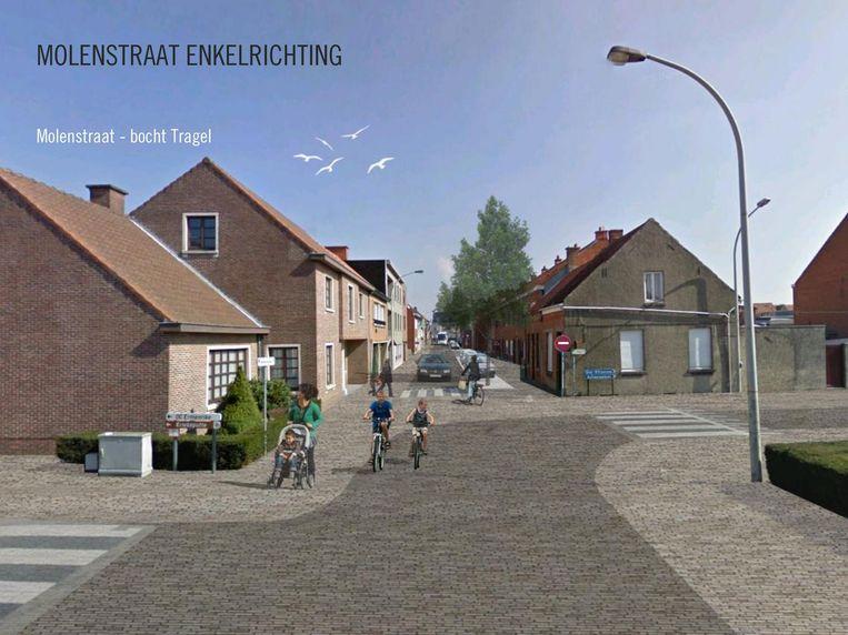 Simulatie van de Molenstraat ter hoogte van het kruispunt met de Tragel. Het laatste deel wordt enkelrichting om het verkeer beter te spreiden.