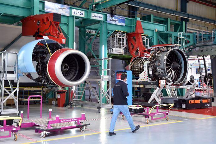 Een motor van een Airbus A320-vliegtuig wordt gebouwd in een Airbus-fabriek in Frankrijk.
