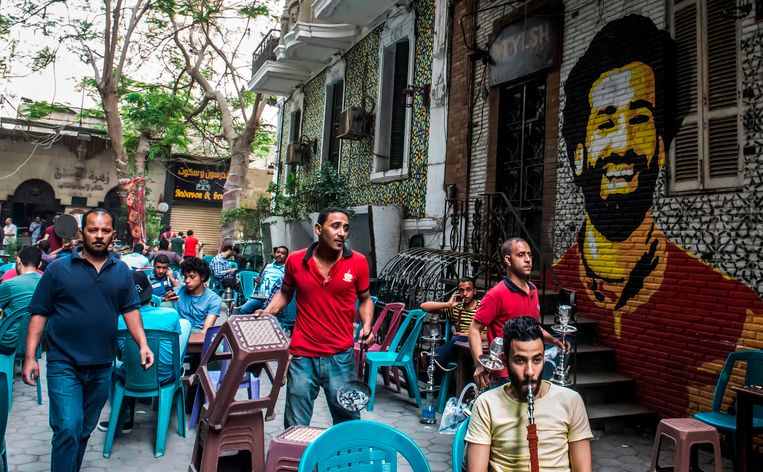 Muurschildering van Mo Salah in Egypte. Beeld Anp
