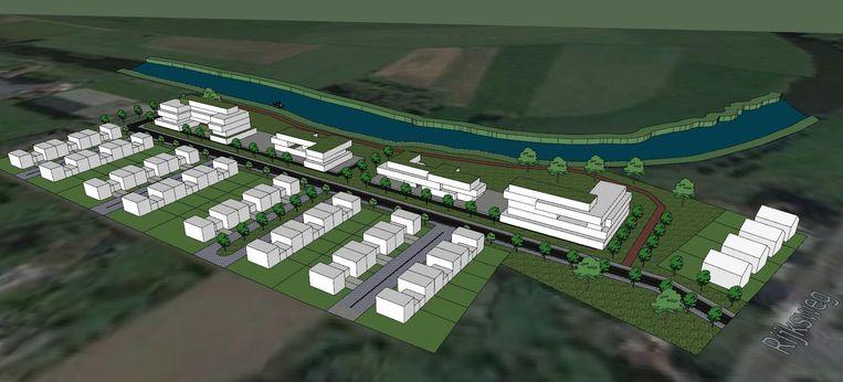 Een simulatiebeeld van het woonproject aan de Leieboorden in Sint-Baafs-Vijve.