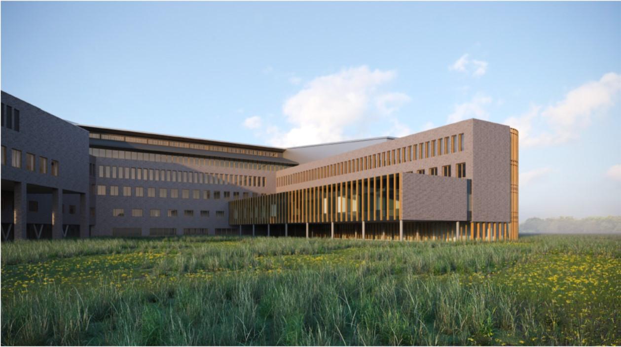 Artist Impression van aanbouw Deventer Ziekenhuis voor radiologie en nucleaire geneeskunde. Ook komt er een nieuw Borstcentrum.