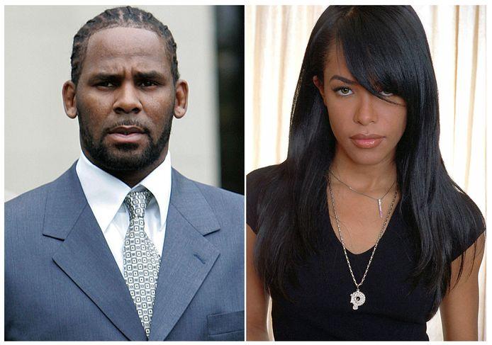 Links R. Kelly, rechts zangeres Aaliyah op een foto uit mei 2001.
