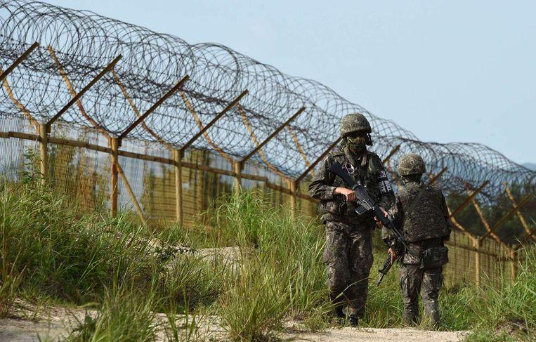 Zuid-Koreaanse militairen bij de grens met het noorden. Beeld epa