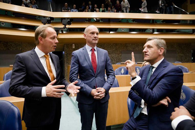 Van der Staaij, Segers en Buma in de Kamer. Beeld anp