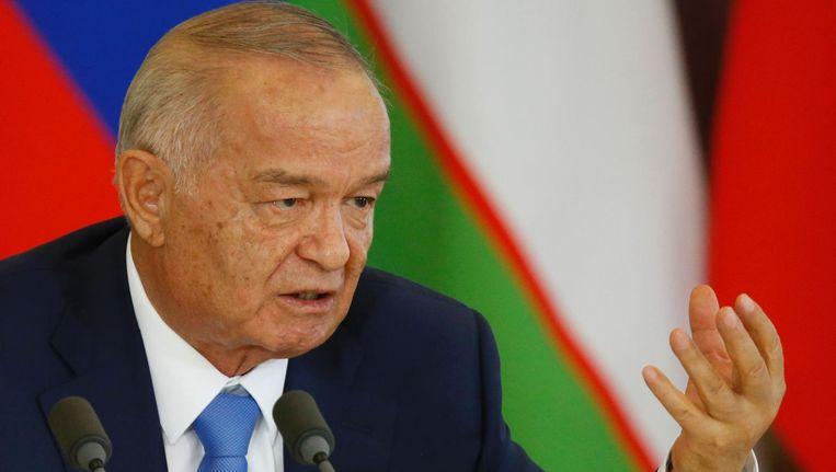 President Karimov tijdens een persconferentie in april 2016 Beeld afp