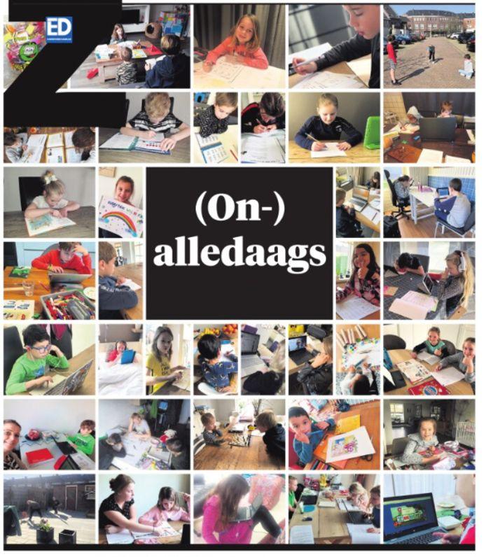 De voorpagina van het Z-katern van zaterdag 28 maart 2020: (on)alledaagse foto's van lezers tijdens de coronacrisis.