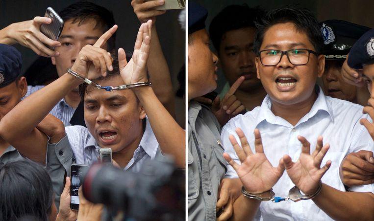 Wa Lone en Kyaw Soe Oo (links) werden in september veroordeeld tot een gevangenisstraf van 7 jaar wegens de schending van staatsgeheimen.