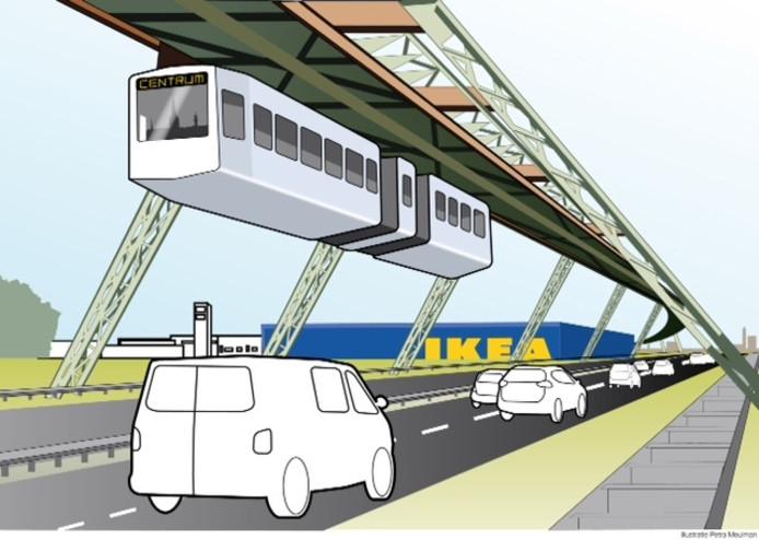 Een voorbeeld van hoe de zweeftrein of kabelbaan in het straatbeeld te zien zou zijn.