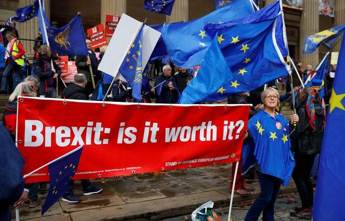 Anti-Brexit aanhangers gingen vandaag de straat op in het Britse Liverpool.