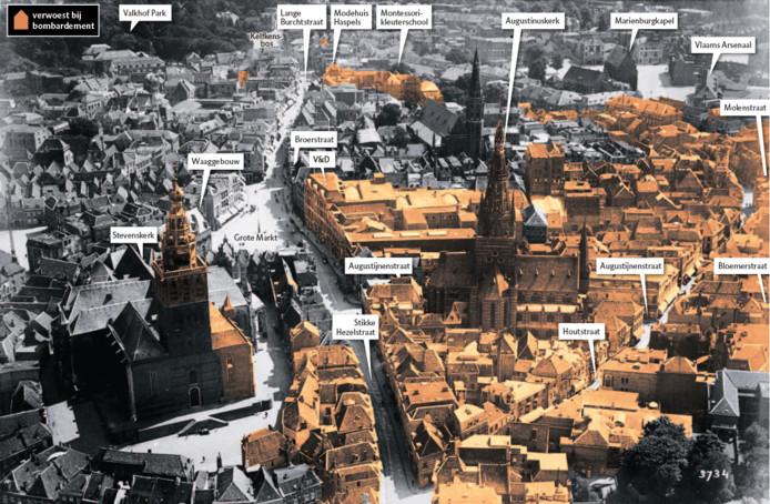 De oranje gebieden op de kaart werden op 22 februari 1944 weggebombardeerd. Daarbij kwamen 800 mensen om het leven.