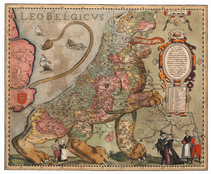 1617 Marieke van Delft: ,,Dit is een van mijn favorieten. Het is een strijdlustige leeuw, een populair model in de Tachtigjarige Oorlog. Nederland was in oorlog met Spanje en niet van plan zich gewonnen te geven. De kaart was niet bedoeld voor navigatie, maar als uiting van nationale trots. Hij heet de Belgische Leeuw, maar België was destijds een naam voor de gehele Lage Landen.''