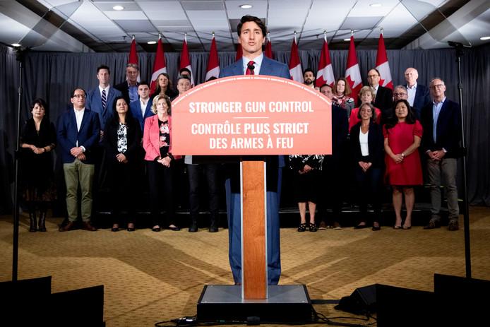 Justin Trudeau gisteren tijdens een campagnebijeenkomst in Toronto.