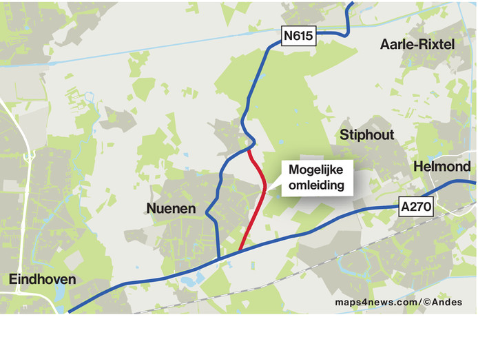 Mogelijk tracé randweg Nuenen