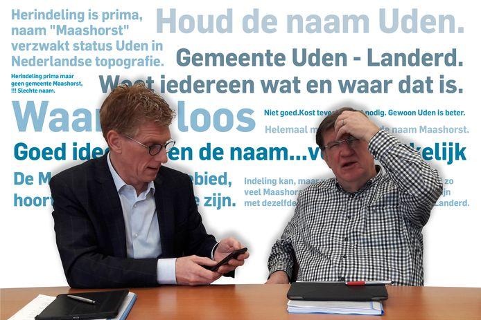 Landerdse burgemeester Marnix Bakermans (links) in een onderonsje met zijn Udense collega Henk Hellegers. Ingemonteerd zijn reacties uit de 650 ingediende zienswijzen.