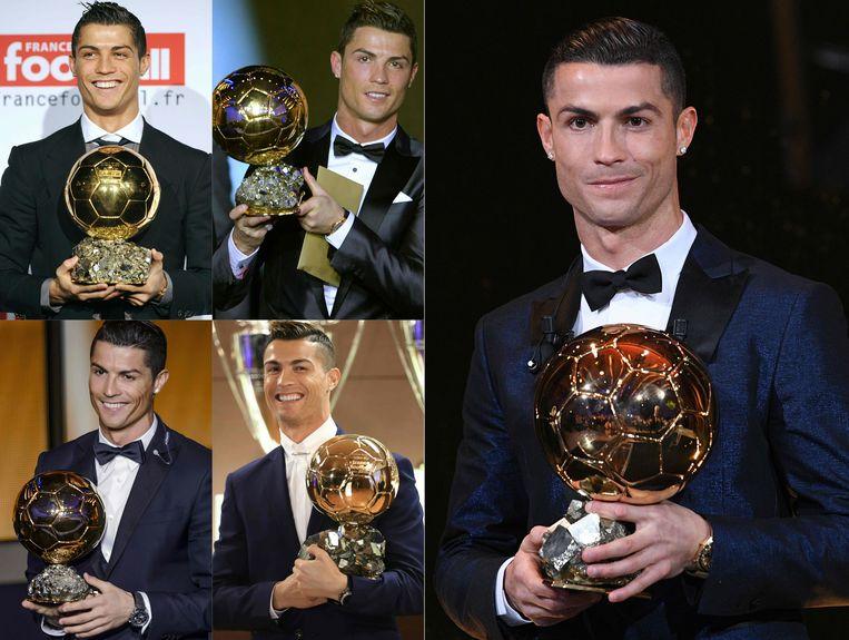 Ronaldo met zijn vijf Gouden Ballen.