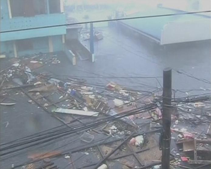 De stad Tacloban op een still van een video.