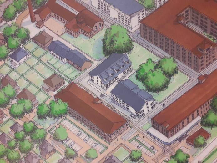 De twee blokken met de blauwe daken vormen de appartementen die BPD in het 'hart van KVL' wil gaan bouwen. Het noordelijke blok is inmiddels wel teruggebracht, zodat er een zichtlijn overblijft tussen het hoofdgebouw en het ketelhuis.