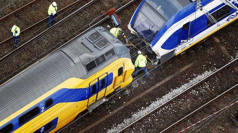 De treinbotsing bij het Westerpark in april. Archieffoto. Beeld anp