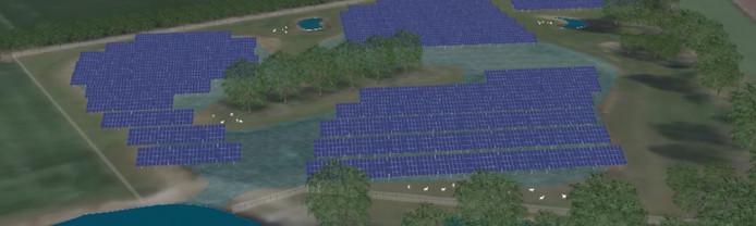 Het geplande zonnepark in de noordwesthoek van het regionale bedrijventerrein Laarberg komt op een plek die tegelijk de functie van retentiegebied heeft in perioden van overvloedige neerslag.