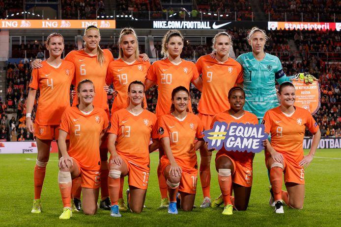 De basiself voor de wedstrijd tussen Nederland en Rusland in oktober 2019.