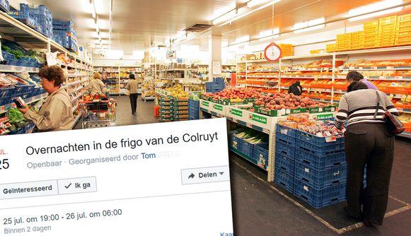 Op Facebook stond een evenement, dat oproept om te overnachten in de koelcel van de Colruyt.