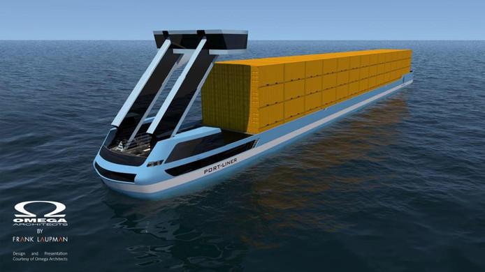 Het ontwerp voor een van de volledig elektrisch aangedreven schepen van Port-Liner.