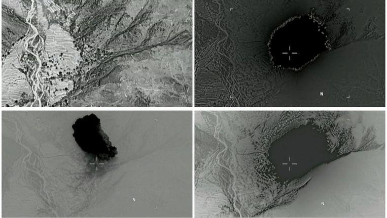 Satellietbeelden van de bom die het Amerikaanse leger in Afghanistan heeft ingezet.