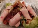 Salade wilde eend met ganzenleverkrullen bij Novice in Vierhouten.