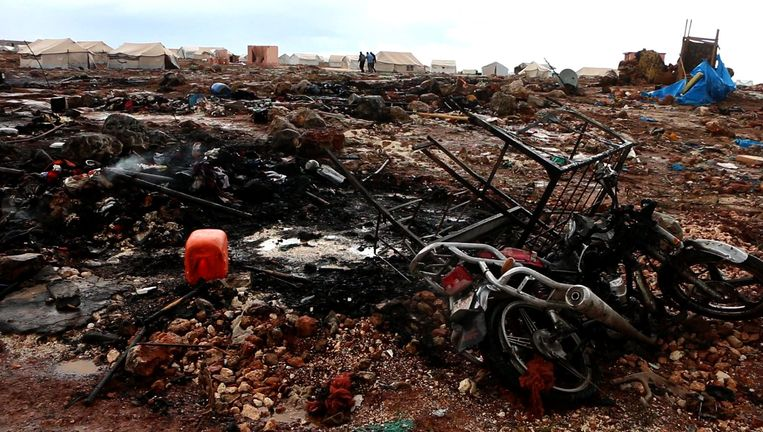 Vernieling na luchtaanvallen in Idlib vorige week