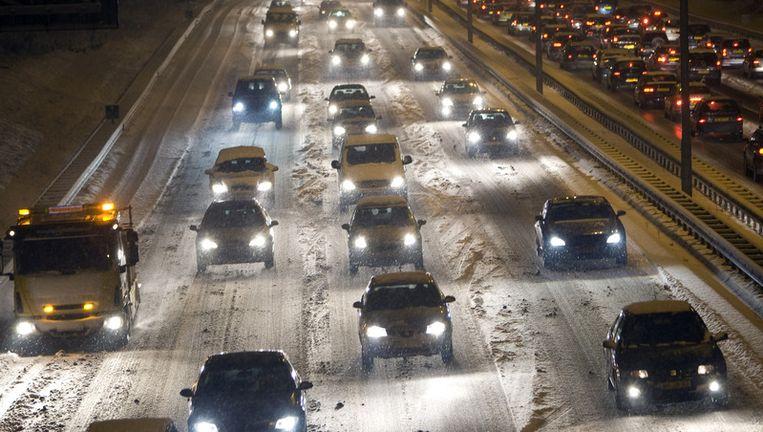 Files in januari op de A9 nabij Amsterdam. Ook toen stonden er lange files door sneeuwval. © anp Beeld